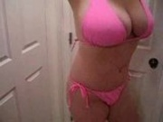 amateur Slut Bitch showing F cup tits for your cum in my Pink Bikini