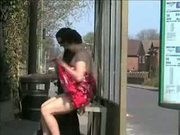 Two ladies flashing in a uk bus stop