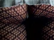 mini gonnellino bianco in jeans sexy calze a retina violet..