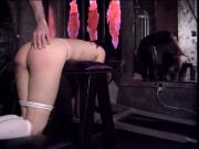 Asian schoolgirl bound and spanked hard by an older guy