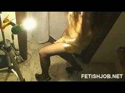 Dance&cum on nylon stockings