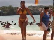 Busty Girl Wearing See-Through Bikini