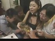 Hot Asian in Bunny Costume Gets Bukkake Gangbanged