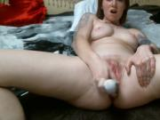 Fucking my hairy pussy with toys