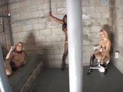 Annette, Jada & Angela suck big cock in prison