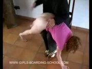 Teen gets red bottom from spanking