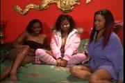 Ebony lesbian sleep over