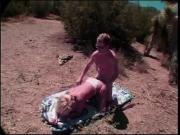 Mature blonde sucks stud's thick cock in desert then gets plowed