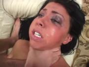 Screaming brunette rough anal