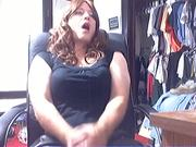 Cumming in black PVC skirt