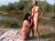 Horny Fat BBW fucking with her younger BF outdoors-P2
