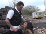 Filthy ebony whore Alyssa Divine sucks and fucks police hunk