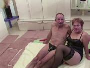 German Granny and Grandpa in Porno Casting for Money