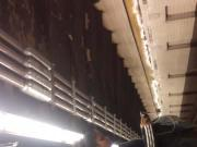 Dick flash on the train platform