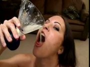 Sluts drinking BIG glass of cum!