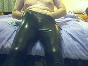 Black Shiny Leggings with Yellow Seethru shorts
