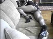 Crossdresser Ass & Leg Show...Sheer Black Nylon-Encased Legs