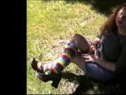 Rainbow socks and Feet that Rock