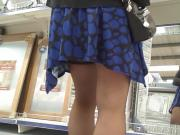 blue dress black stockings shopping