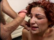 Cute rehead takes a facial cum bath