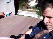Stroking on patio -- selfshot