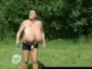 Busty grannie playing badminton