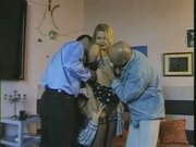 Big tits blond fuck with three men
