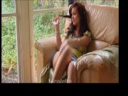 beautiful teen in armchair masturbating