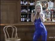 Beautiful blonde latex fetish babe Natashas shiny outfit