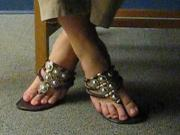 Candid Flip Flops in the Library Shoeplay