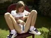 Nice Teen Playing Alone in Garden by snahbrandy