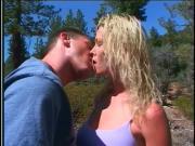 Blonde slut in outdoor sex action