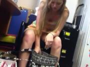 Upskirt at Work Blonde