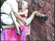busty blonde is abuse hard on the beach