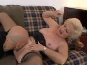 Blonde mature getting laid on couch