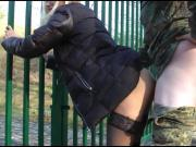 She gets relief by being fucked against the fence by a guard
