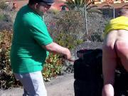 Schlampe wird auf La Palma gepruegelt