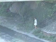 Japanese Lad wanking in the street