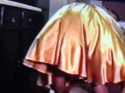 Gold Satin Skirt Wife Dominated by Pervy Husband 2