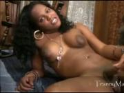 TS Bambie shows off her chocolate tranny stick