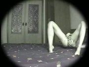 Voyeur films masturbating girl
