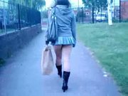 Pinkfluff  No Knickers Upskirt Walk From Mcdonalds