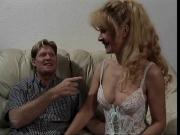 Sexy mature blonde in lingerie gets fucked on a couch