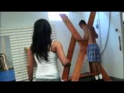 Sadistic girl whips him hard