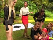 Pissing euros outdoors having lesbian fun
