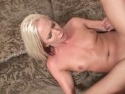 Hot blonde fingers herself while stud pounds her