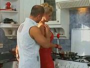 blonde slutty milf fucked in the kitchen