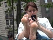 Candid Soles stretching