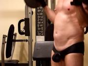 LycraBulgeLover - Ball Busting Barbell Curls