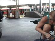 Train station boobs